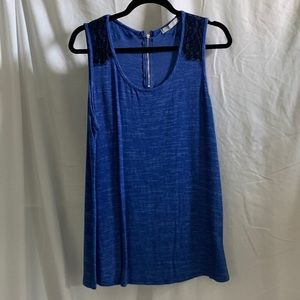 Olivia Moon Blue and Black Lace Detail Tank